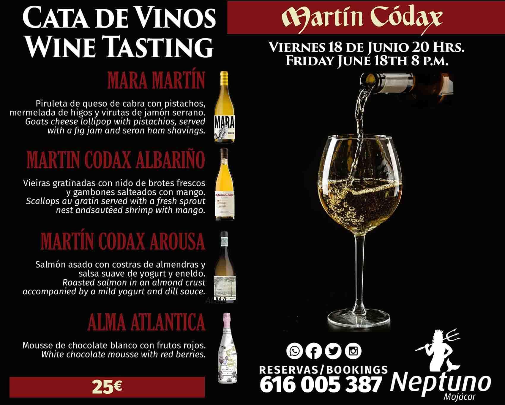 Cata de vinos resturante en Mojácar Neptuno
